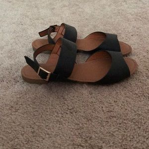 Black Wide Strap Sandals (Worn Twice)